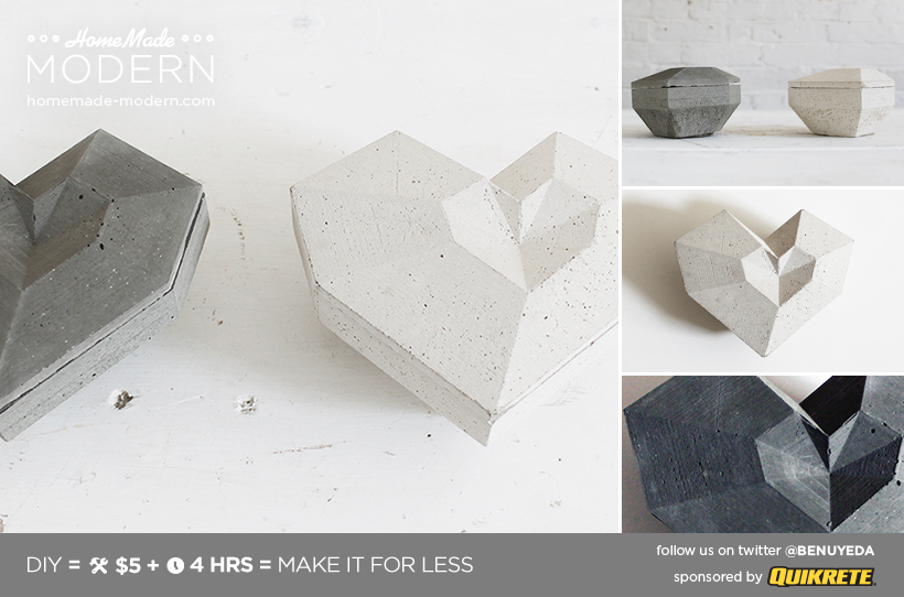 HomeMade Modern Concrete Heart Box
