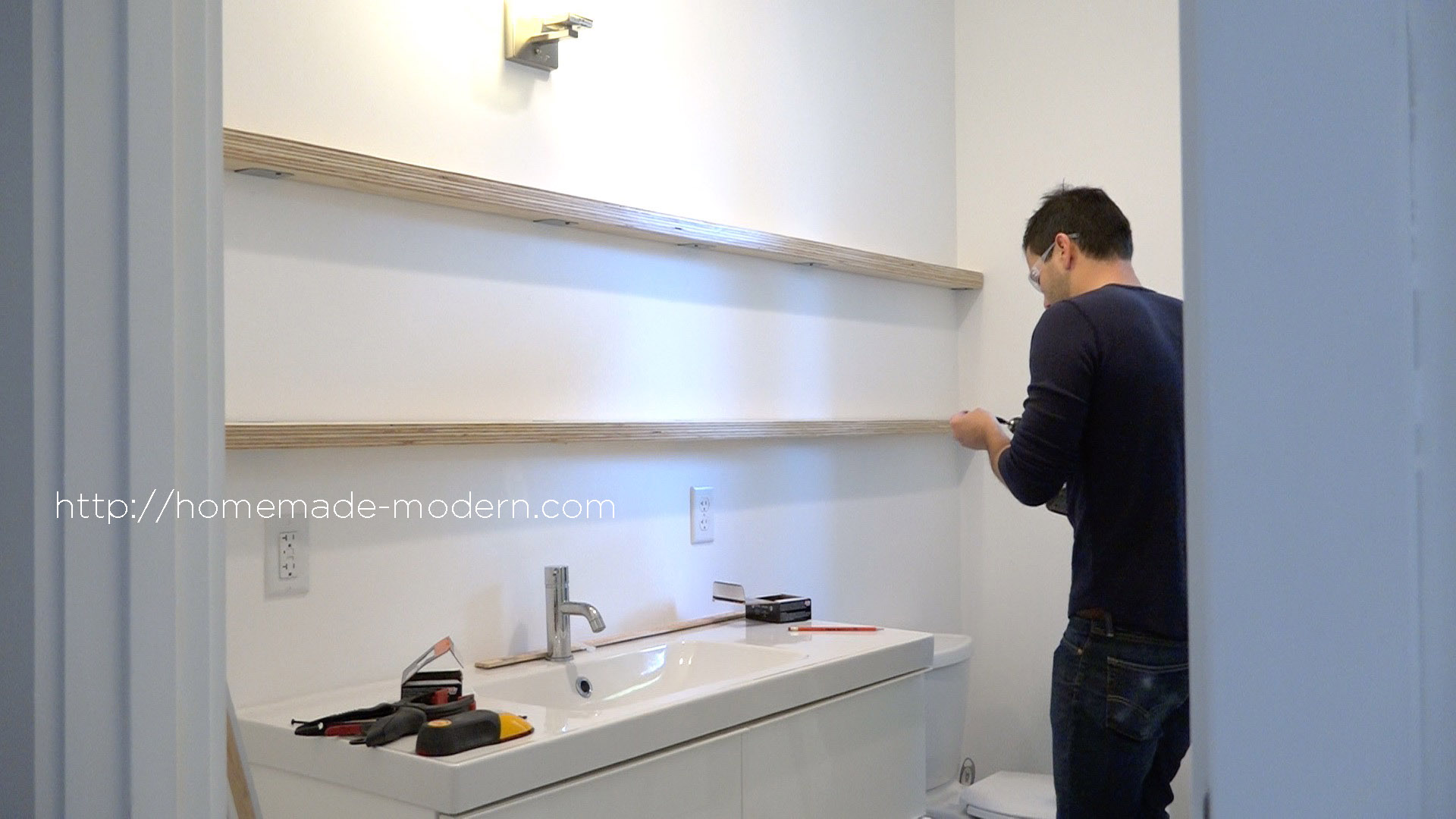 This Bathroom Mirror Features DIY Hardware That Slides On Plywood Shelves.  Full Instructions Can Be