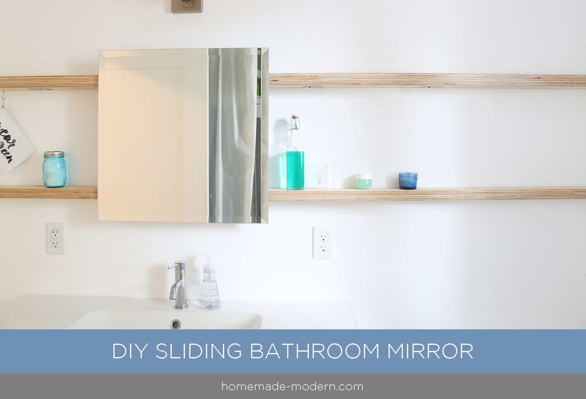 This bathroom mirror features DIY hardware that slides on plywood shelves. Full instructions can be found at HomeMade-Modern.com