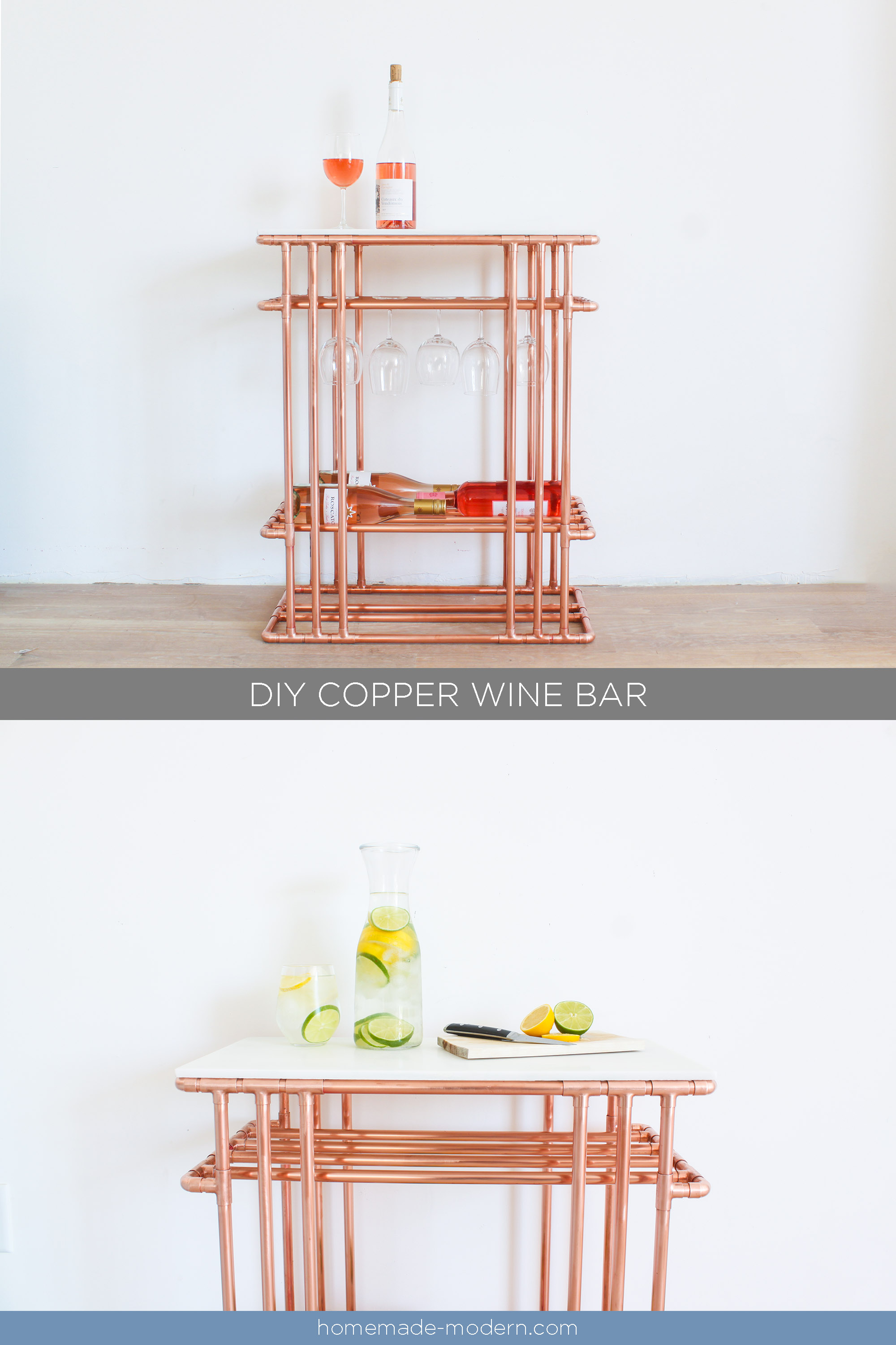 This DIY Copper Wine Bar is made entirely out of materials from The Home Depot. Full instructions can be found at HomeMade-Modern.com