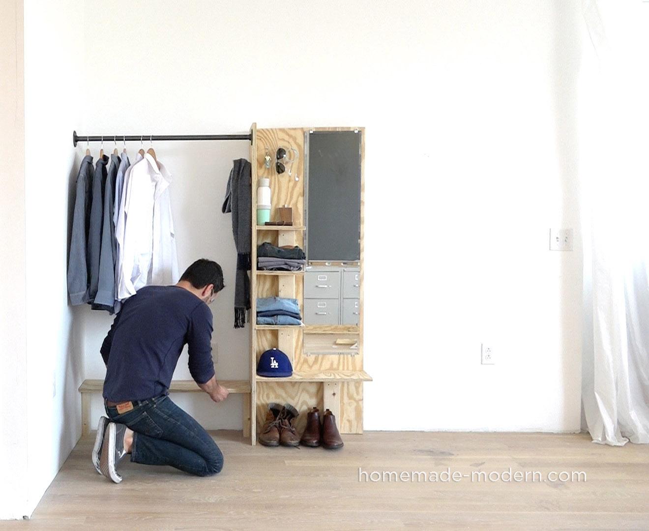 Homemade modern ep98 diy closet organizer for Over wardrobe storage
