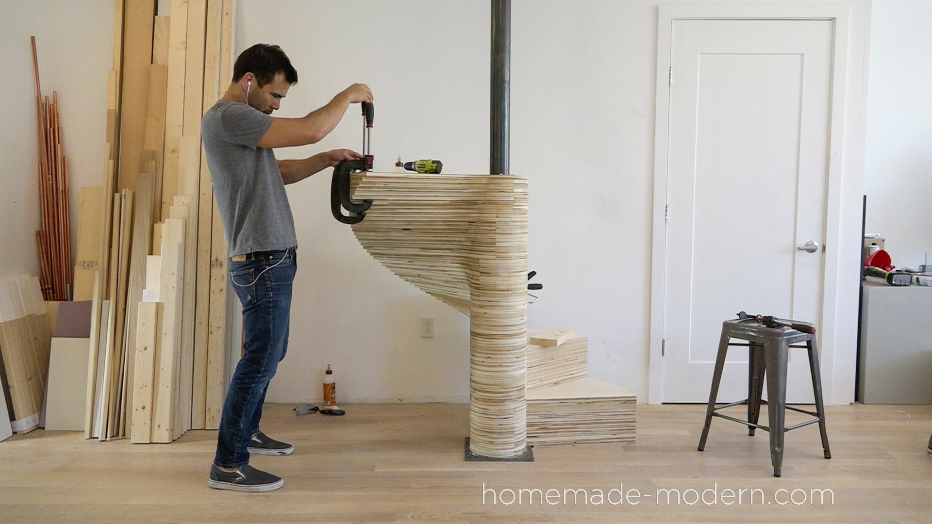 "This CNCed Spiral staircase was made using the X-Carve by Inventables.com and is made from ¾"" thick furniture grade plywood. For more information go to HomeMade-Modern.com"