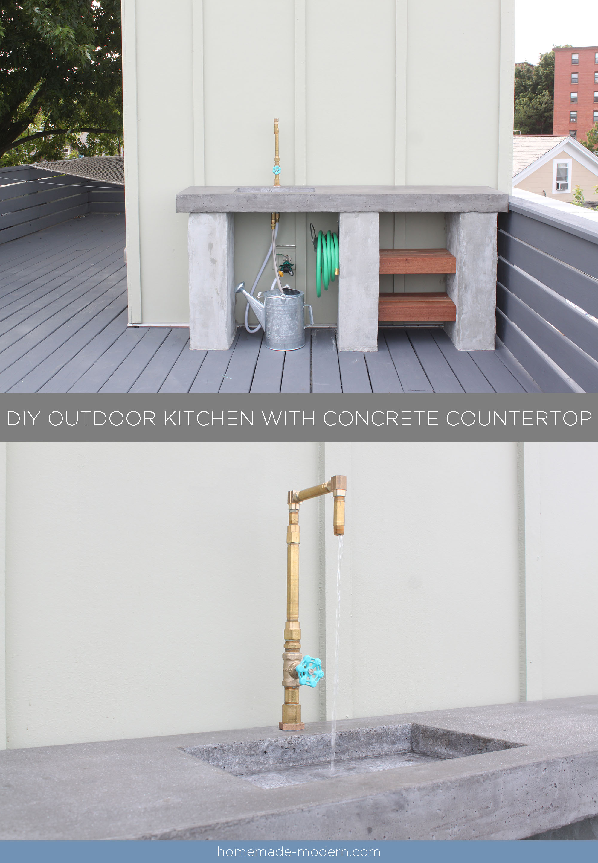 This DIY Outdoor Kitchen with Concrete Countertop is convenient for your deck, patio or outdoor garden. Full instructions can be found at HomeDepot.com