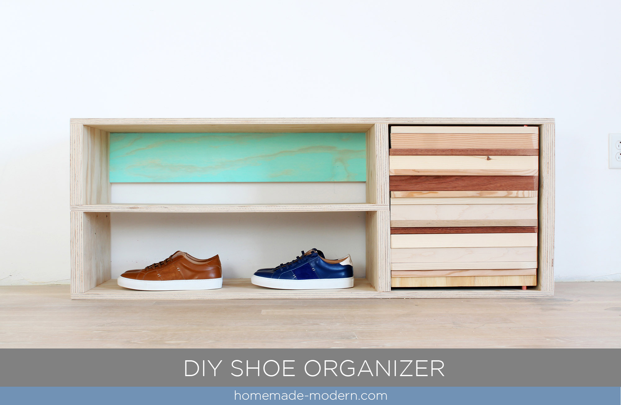 This DIY Shoe Cabinet Is Made From Wood Scraps And A Painted Back Panel.  Full Part 5