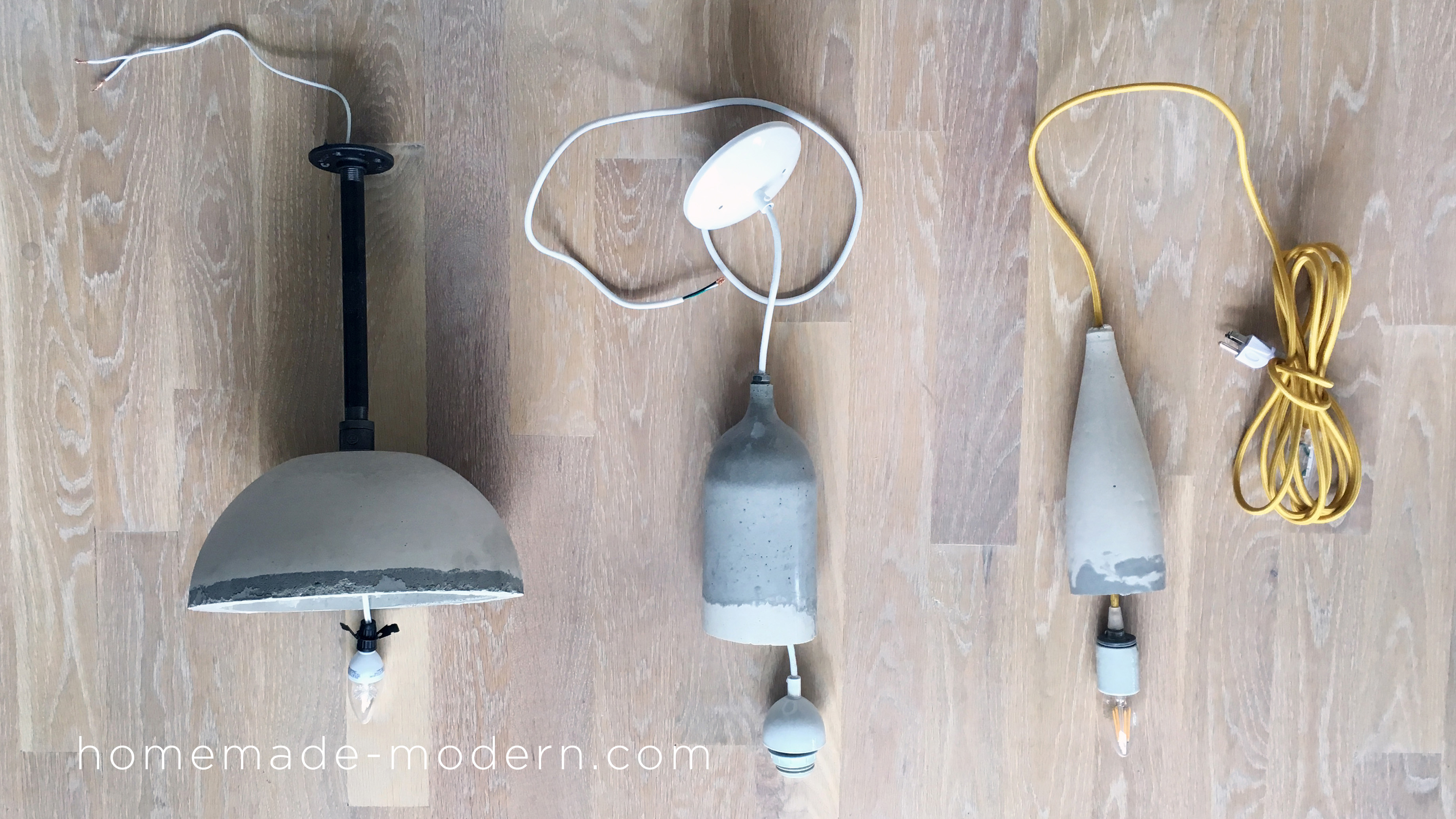 These DIY concrete lamps are easy and affordable to make. For more information go to HomeMade-Modern.com