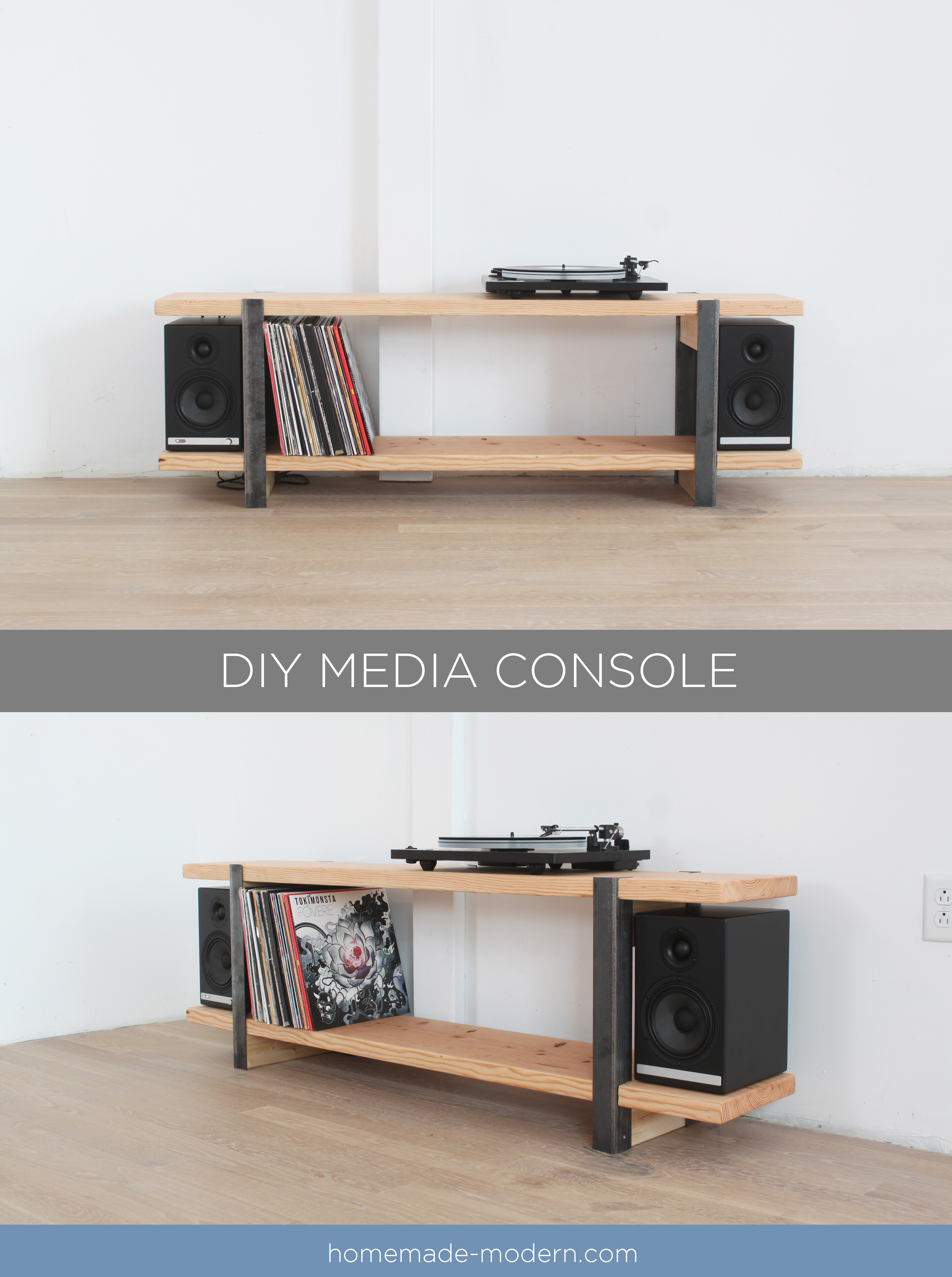 This DIY Media Console Is Made Out Of A 2x12 And Angle Irons And The Shelves