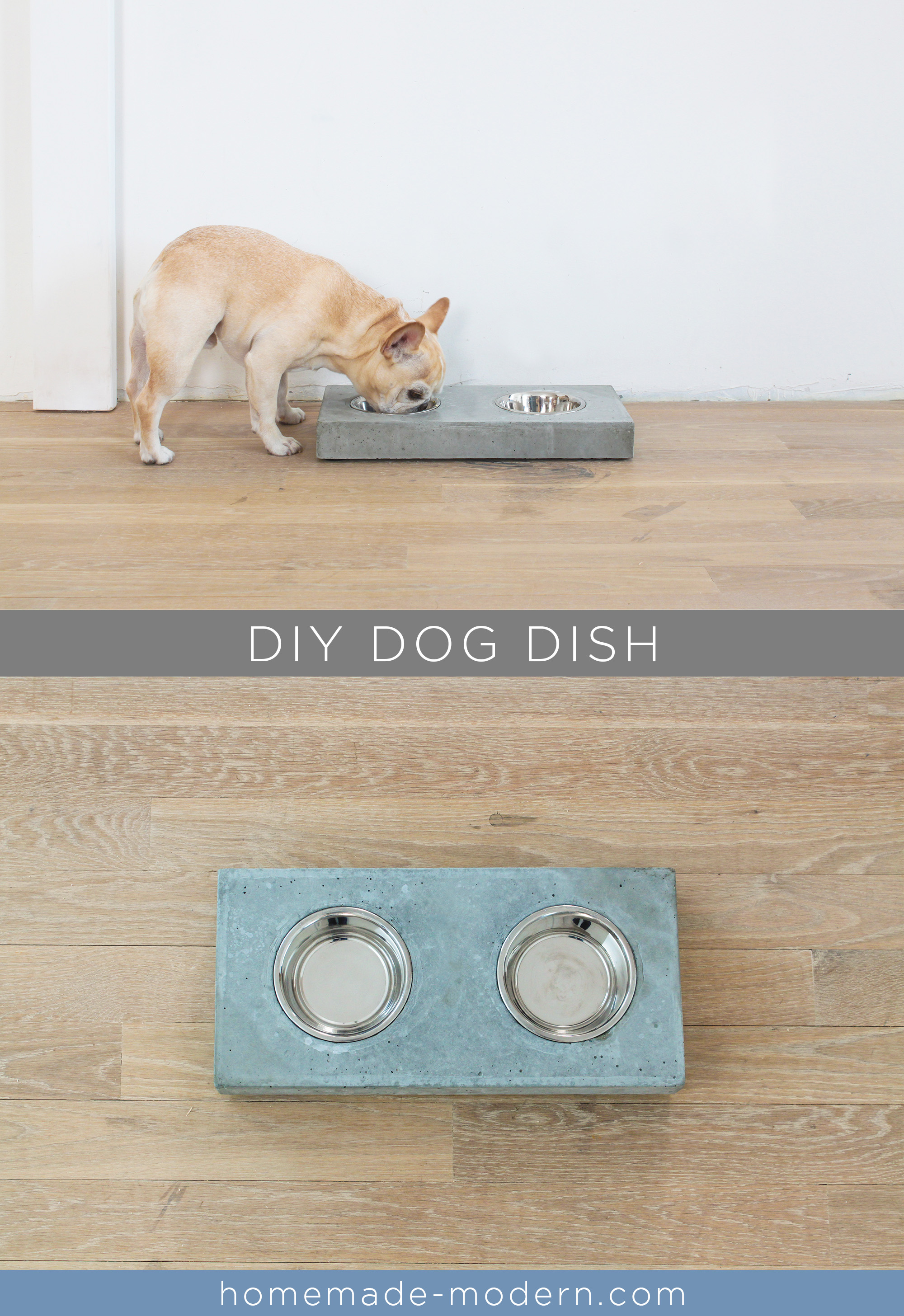 This DIY concrete dog dish station was made out of Quikrete 5000 concrete mix from Home Depot. Full instructions can be found at HomeMade-Modern.com