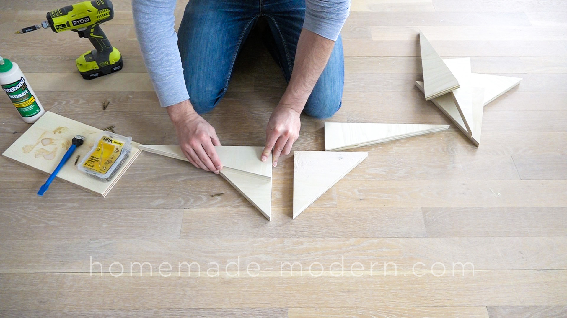 "This DIY Plywood table is made out ¾"" plywood from  Home Depot and does NOT require a CNC machine to make. Full instructions can be found at HomeMade-Modern.com"