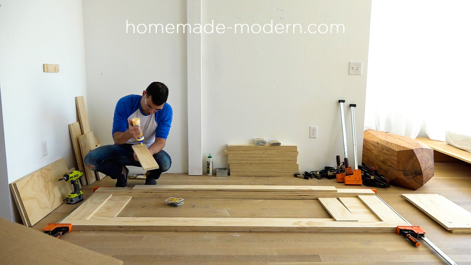 "This DIY modern plywood sofa is made out of 2-1/2"" sheets of ¾"" plywood from Home Depot. Full instructions can be found at HomeMade-Modern.com"
