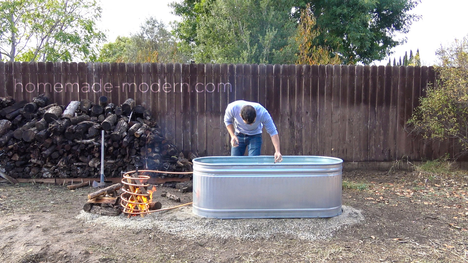 is wood tub from stock and made water tubing diyhottub a copper trough banner diy hot homemade modern this tank fired