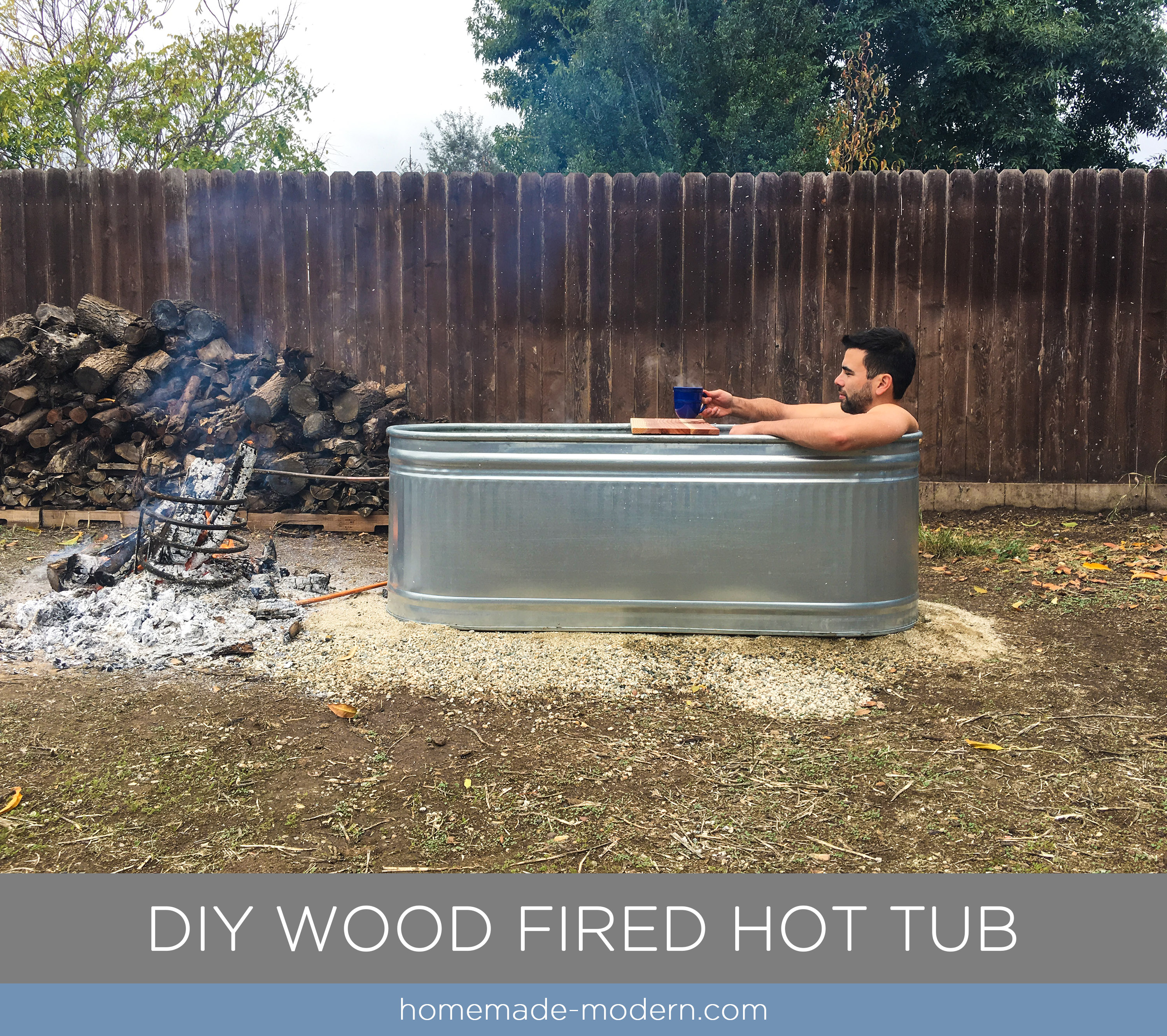 This DIY wood fired Hot Tub is made from a stock tank and copper tubing and cost less than $250. Full instructions can be found at HomeMade-Modern.com