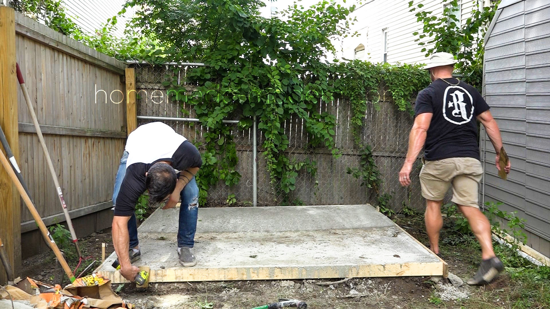 Ben Uyeda builds a concrete slab foundation for a tool shed. For more information go to HomeMade-Modern.com