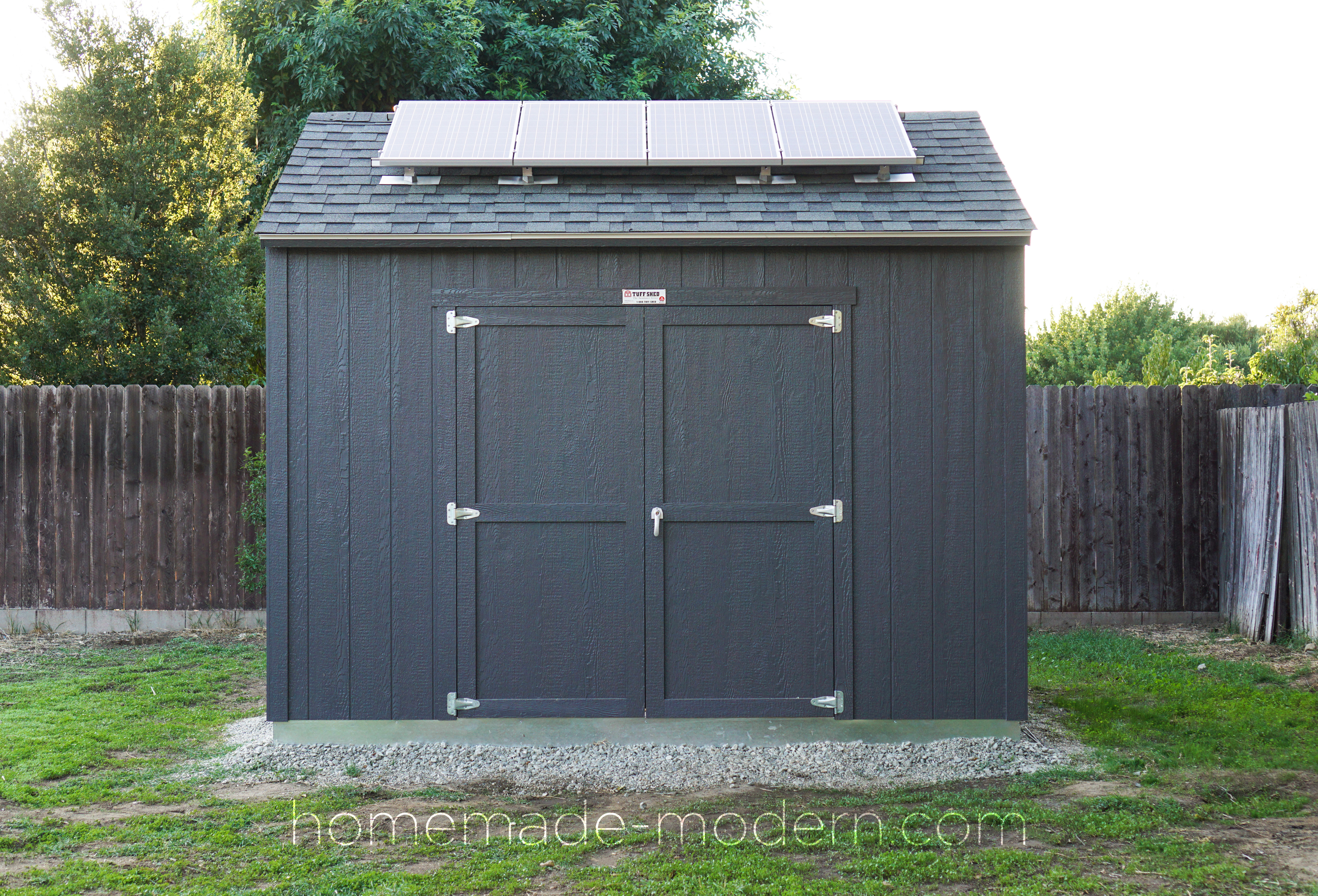 This off-the-grid solar powered workshop was made by retrofitting a prefabricated shed from TuffShed with a 400watt solar kit also from Home Depot. For more information go to HomeMade-Modern.com