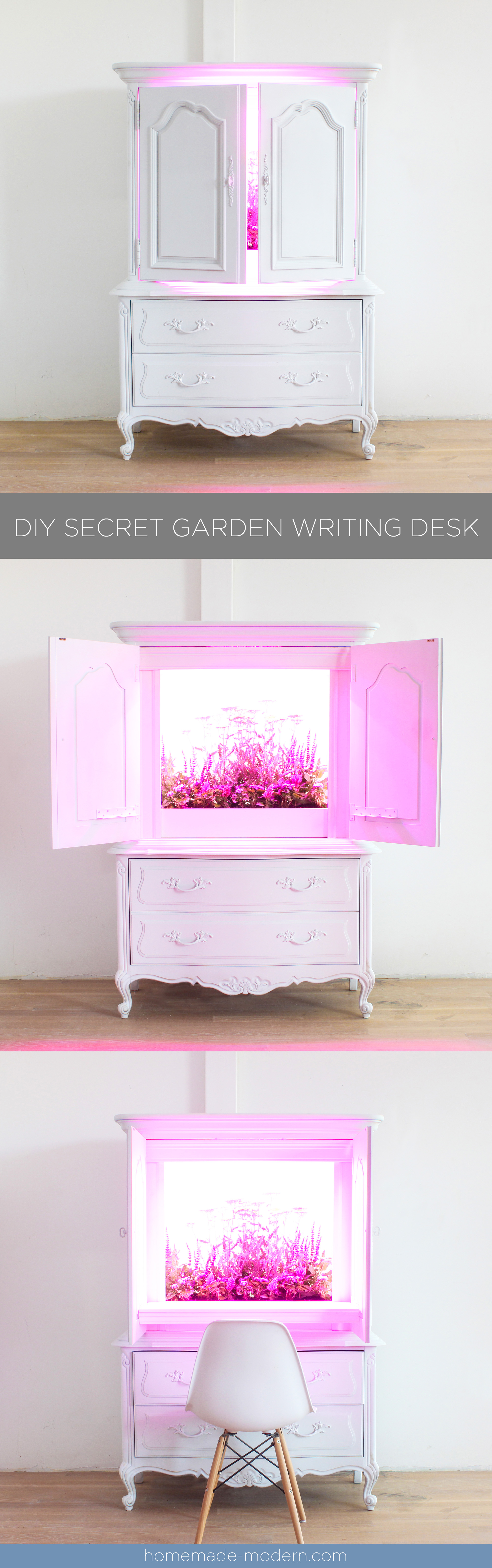 This writing desk was built inside of a wardrobe and has LED grow lights that provide light for real the real plants growing inside. This is one of Ben Uyeda workspace projects where he explores ideas of how to foster creativity during repetitive tasks. For more information go to HomeMade-Modern.com