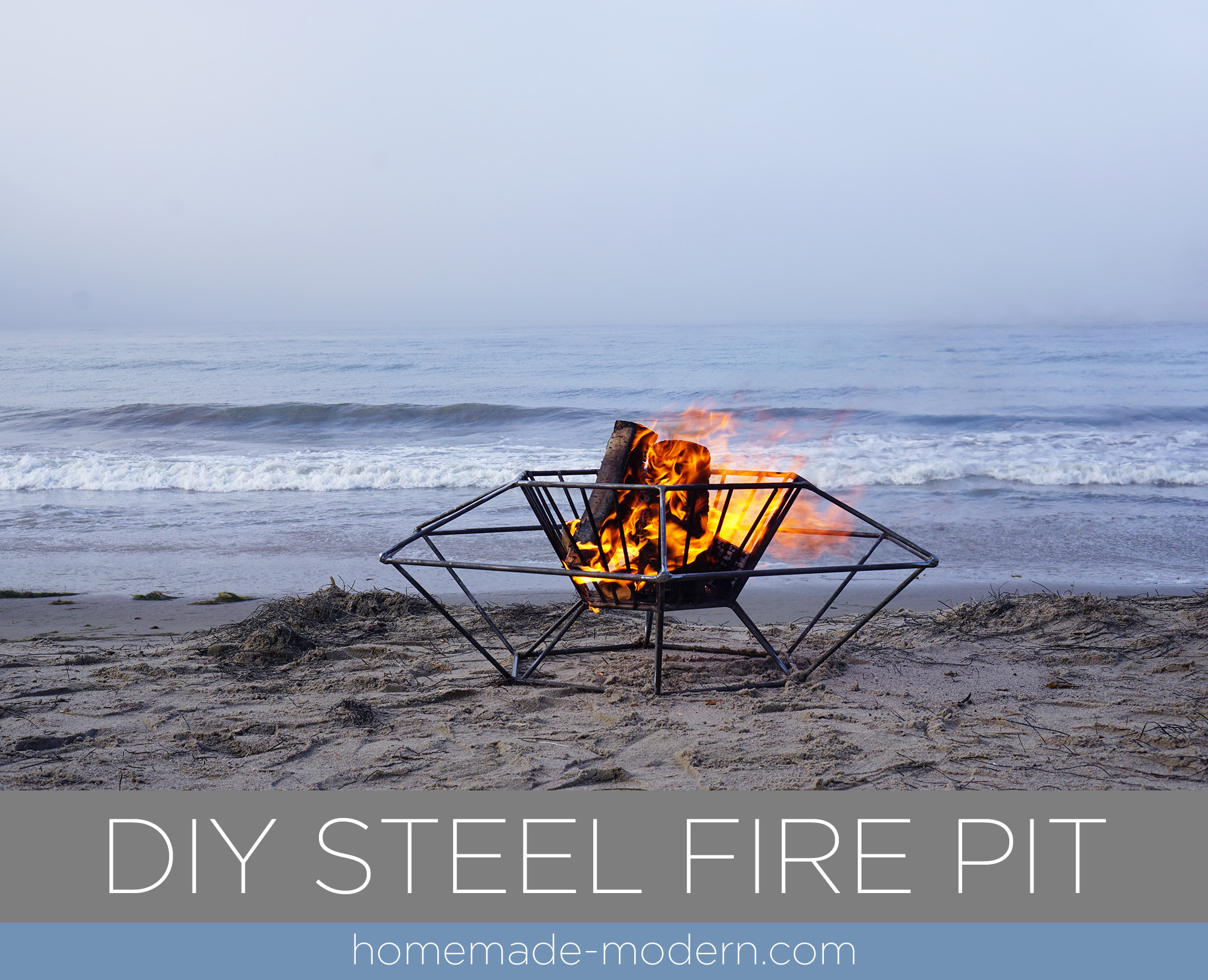 B This DIY modern steel fire pit designed by Ben Uyeda is made out of steel rods from Home Depot that are welded together. For more information go to HomeMade-Modern.com