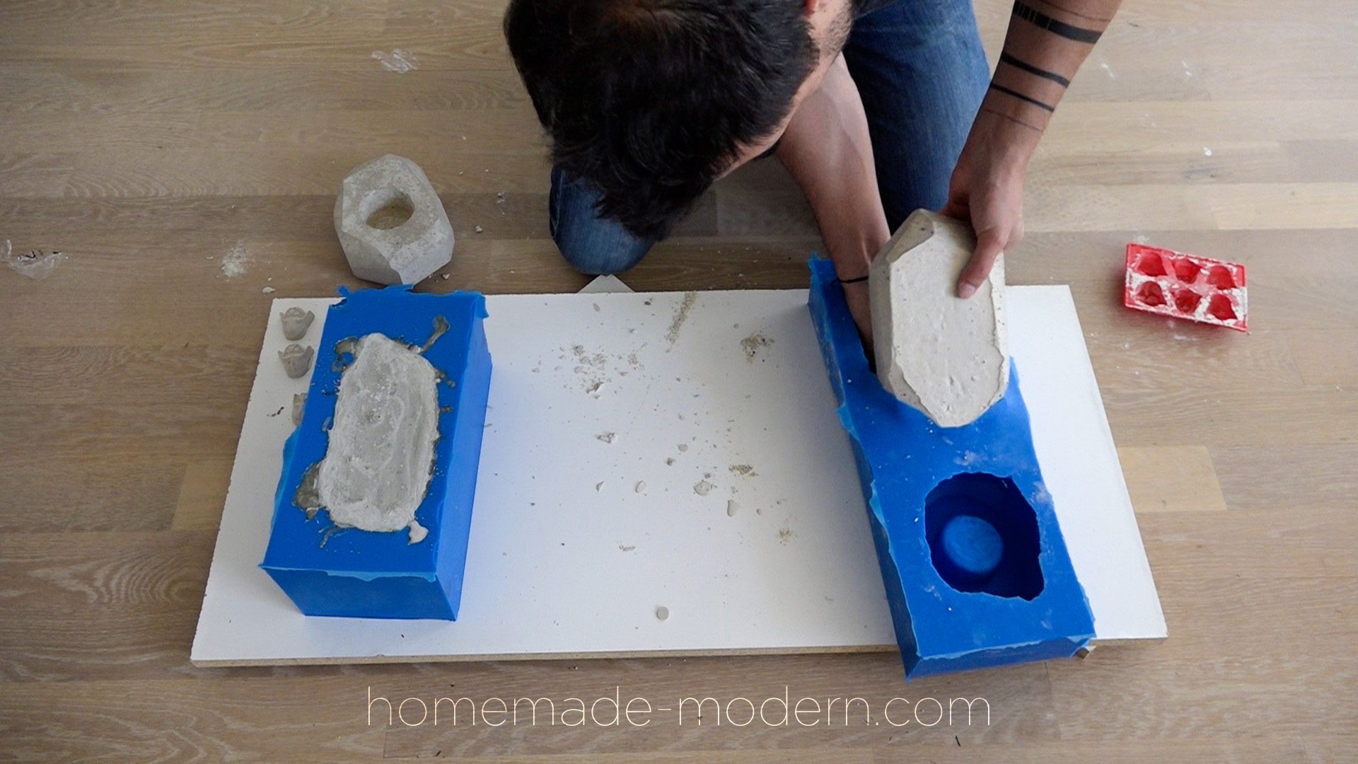 These geometric planters were cast out of concrete using reusable molds made out of silicone. For more information on this project and on DIY concrete countertops go to HomeMade-Modern.com