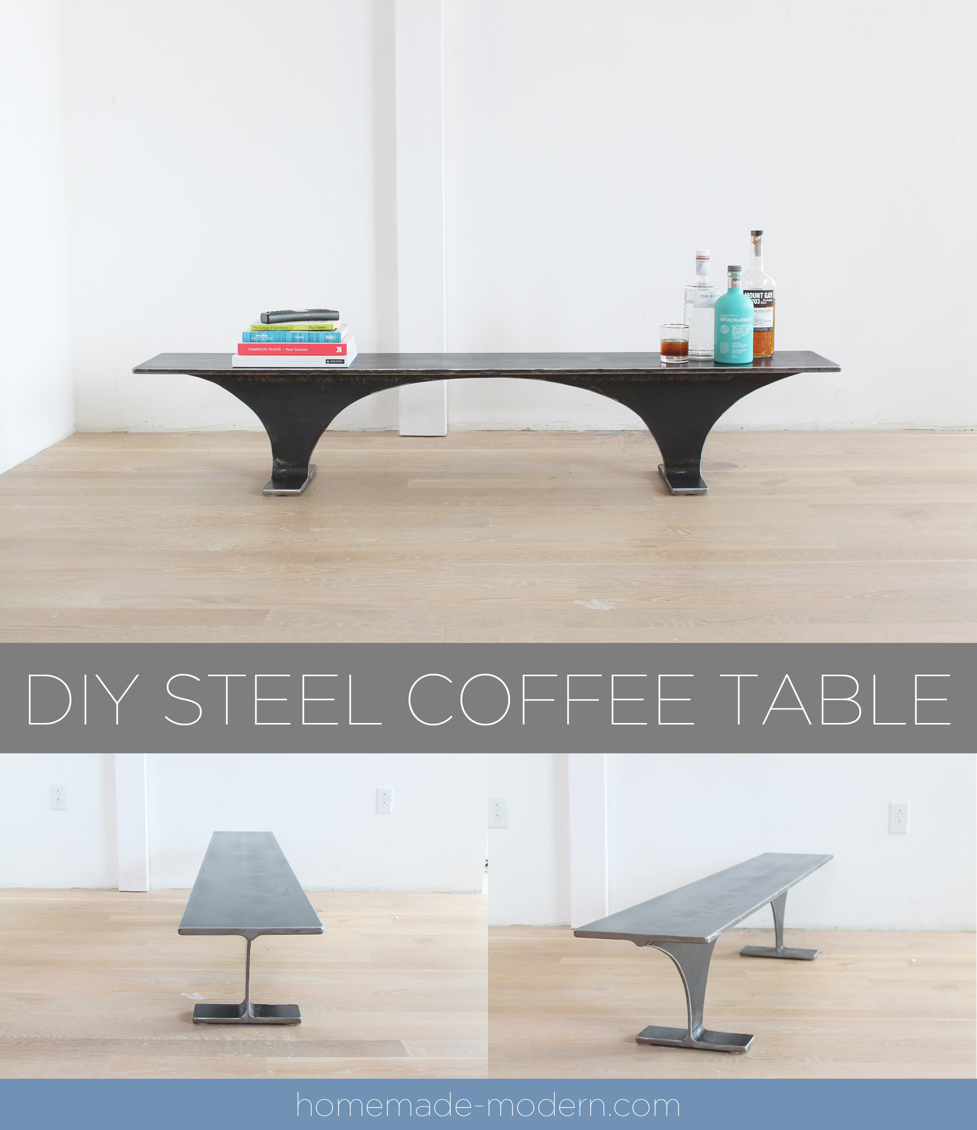 This steel coffee table or bench was carved from a single piece of I-Beam and was designed by Ben Uyeda. For more information on this project go to HomeMade-Modern.com