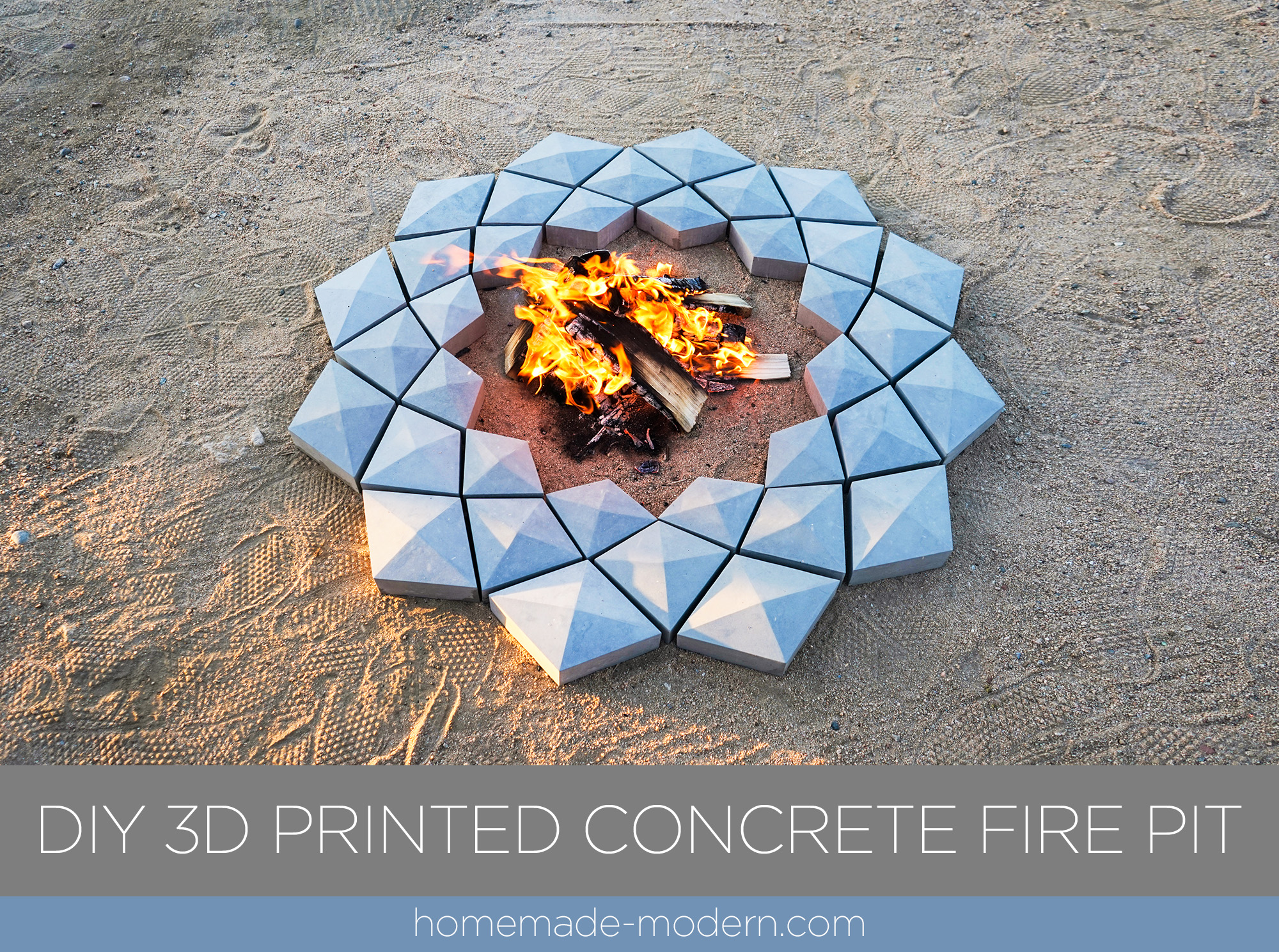 This 3D printed concrete fire pit was designed by Ben Uyeda of HomeMade-Modern.com You can download the 3D files for free and see a video showing the entire fabrication process. For more information go to HomeMade-Modern.com