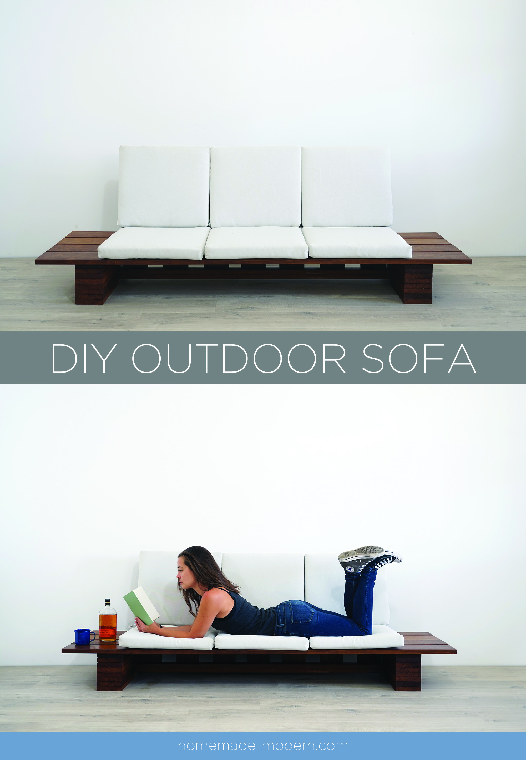This DIY Outdoor sofa was made out of Cumaru Deck boards and outdoor cushions from Target. For more information go to HomeMade-Modern.com