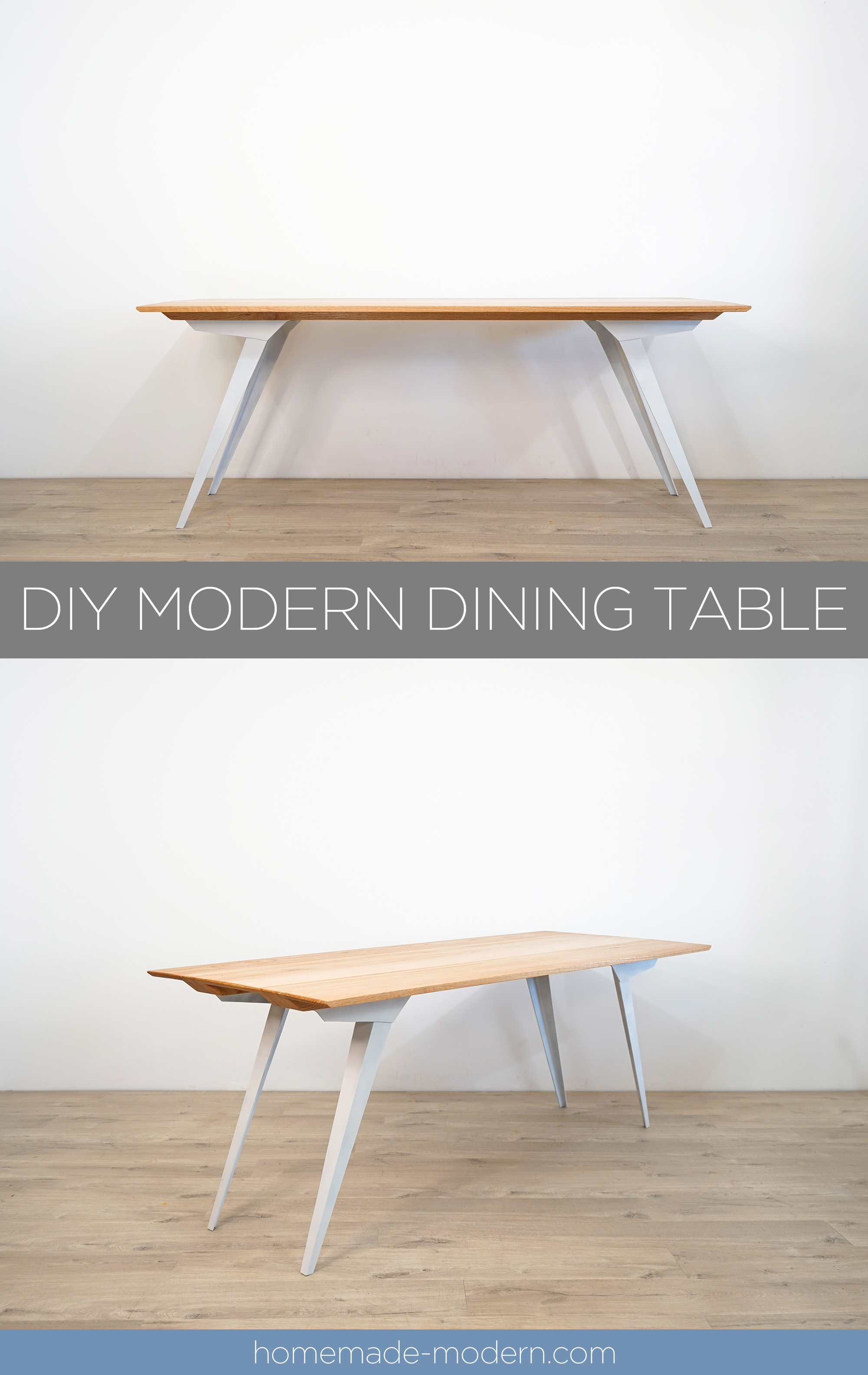 "This DIY modern dining table features custom steel table legs that made out of 3""x3""x3/16"" steel angles and an oak table top made out of ¾"" thick oak from Home Depot. For more information go to HomeMade-Modern.com"