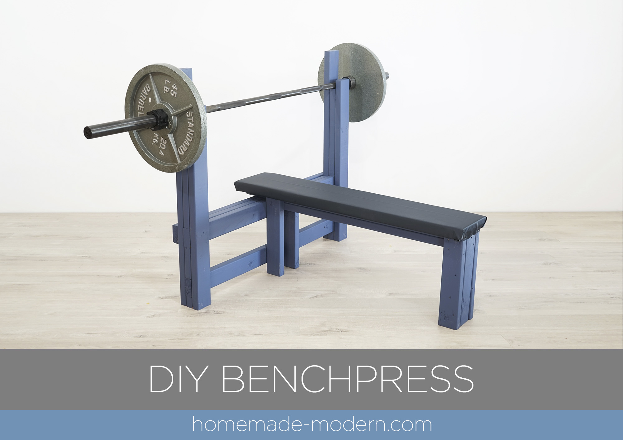 "This DIY weight bench is made out  of 2x4s, some ¾"" plywood, and some foam and fabric and is  designed for bench pressing. For more information go to HomeMade-Modern.com"