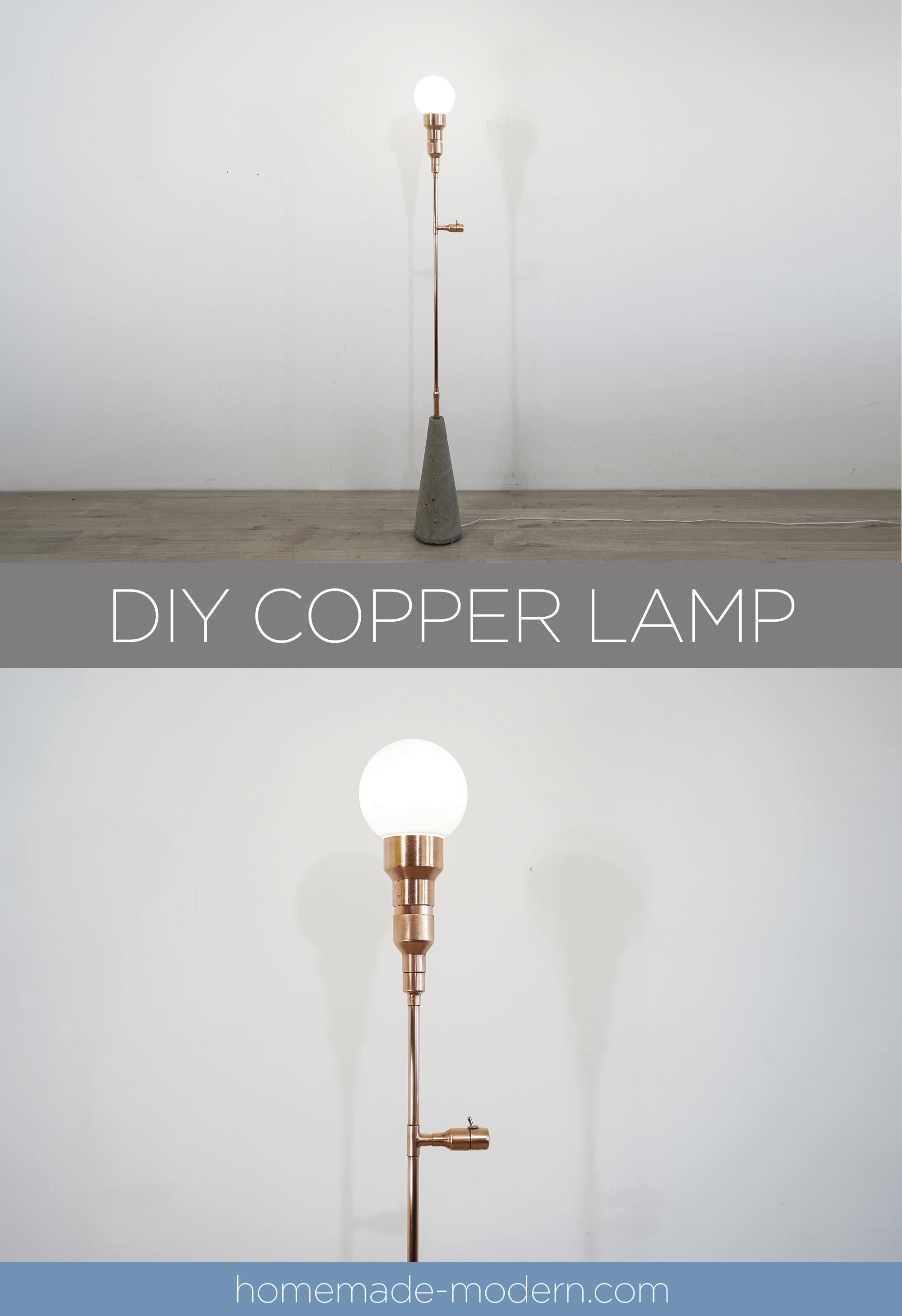 This DIY copper lamp was made out of copper pipes from Home Depot. For more information go to HomeMade-Modern.com