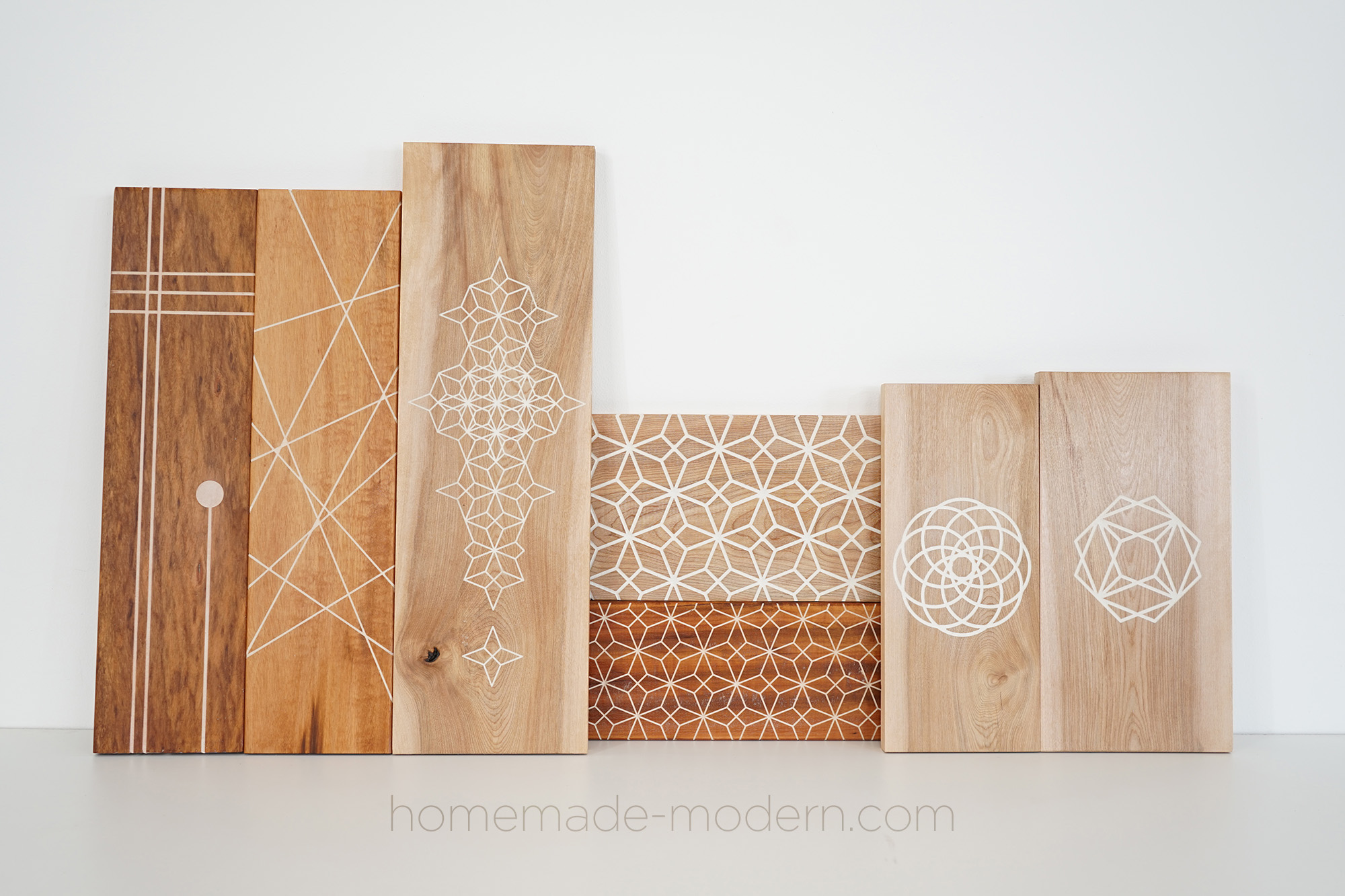 Ben Uyeda of HomeMade Modern used white grout for these inlays. For more information go to HomeMade-Modern.com