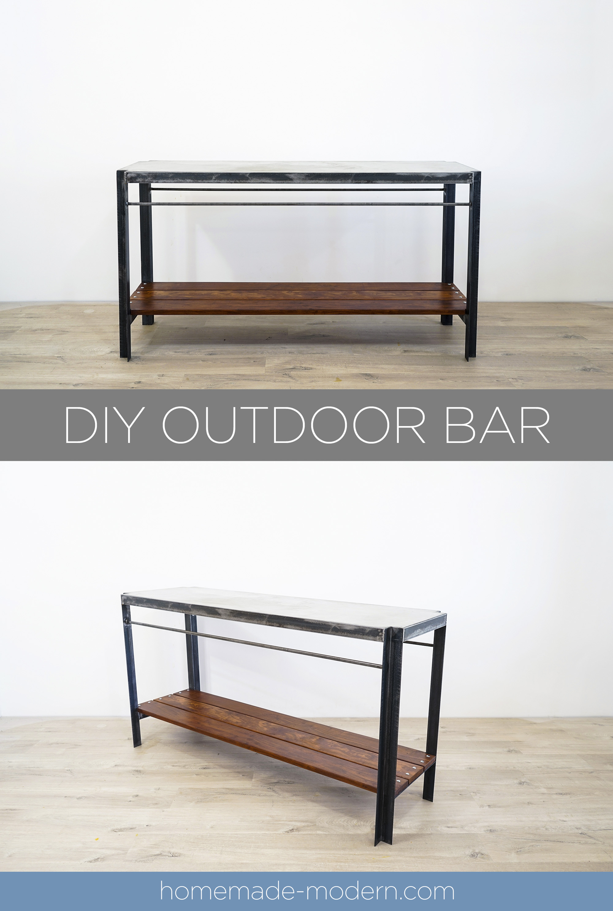 This DIY Outdoor Bar features a poured in place concrete countertop and wood shelves made out of Cumaru. For more information go to HomeMade-Modern.com