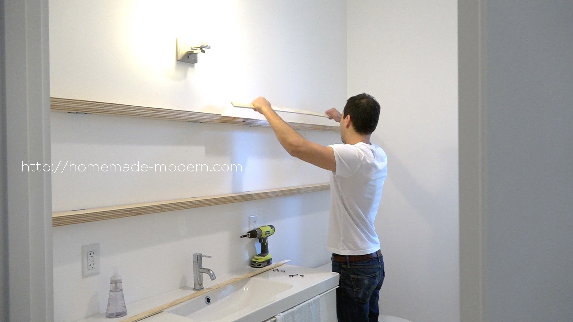 This Bathroom Mirror Features Diy Hardware That Slides On Plywood Shelves Full Instructions Can Be